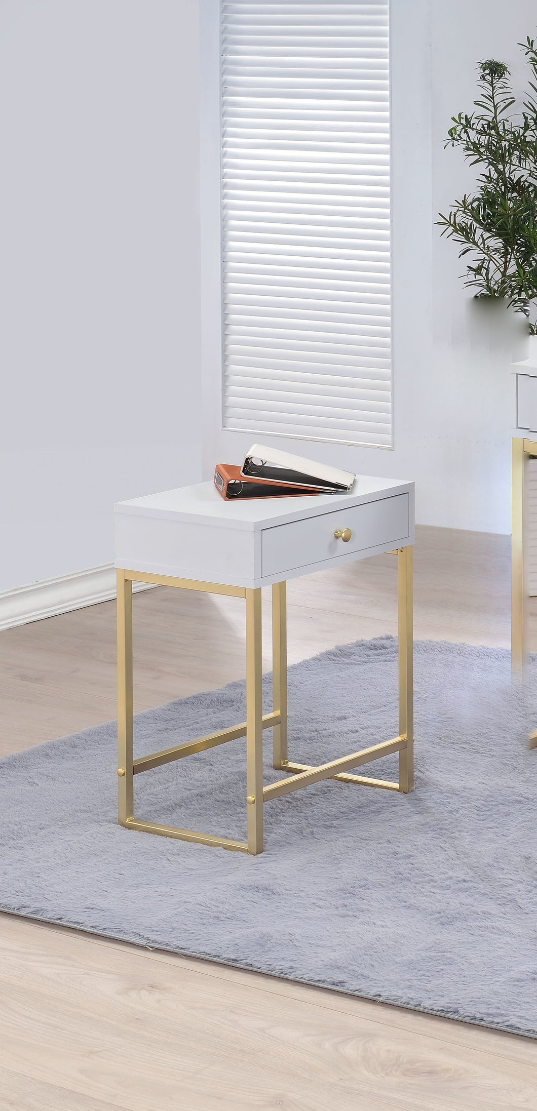 Acme Coleen Side Table, White & Brass