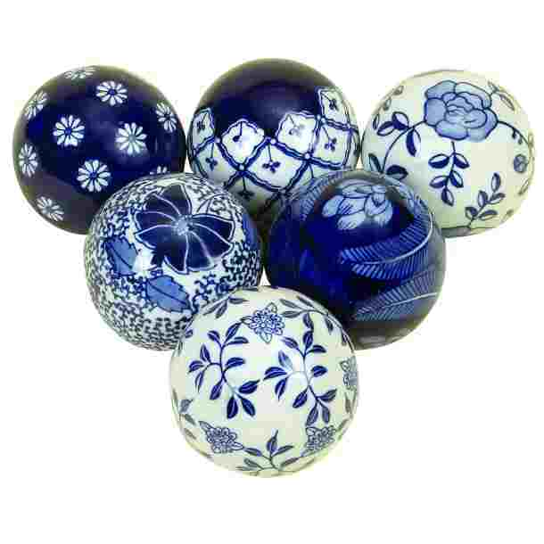Blue And White Ceramic Ball- Set Of 6 - Benzara