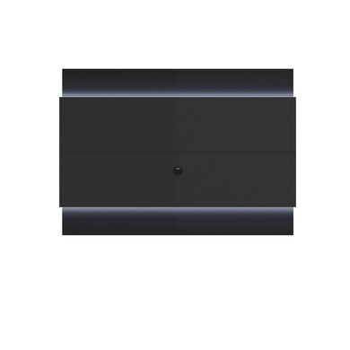 Manhattan Comfort Lincoln Floating Wall TV Panel 1.9 with LED Lights in Black Gloss and Black Matte