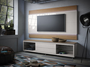 Manhattan Comfort Lincoln Floating Wall TV Panel 1.9 with LED Lights in Maple Cream and Off White