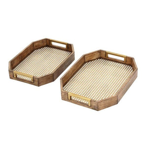 "85466 Wood Metal Tray S/2 16"", 18""W"