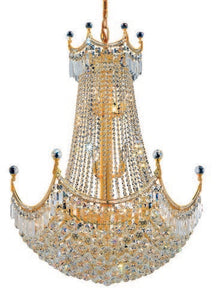 8949 Corona Collection Hanging Fixture D30in H40in Lt:24 Gold Finish (Royal Cut Crystal)