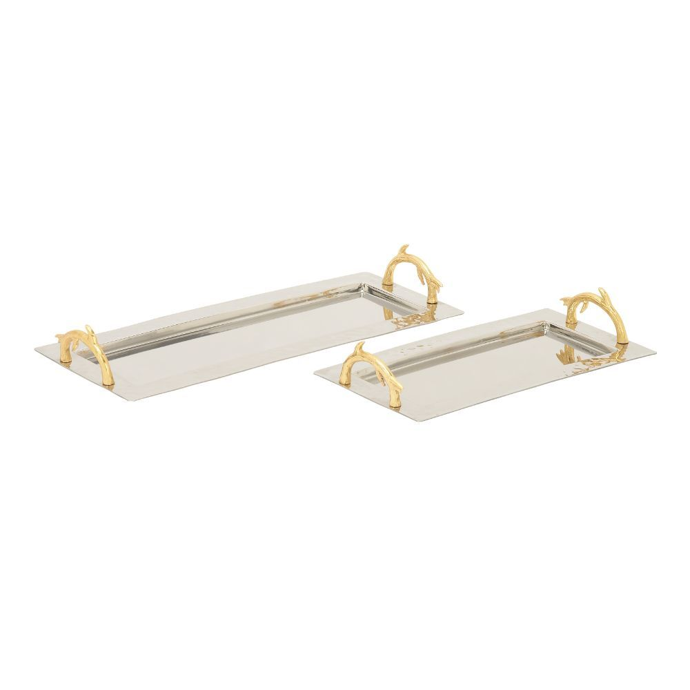 Enthralling Set Of Two Stainless Steel Aluminum Tray