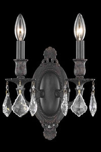 9202 Rosalia Collection Wall Sconce W9in H10.5in E5.5in Lt:2 Dark Bronze Finish (Elegant Cut Crystals)