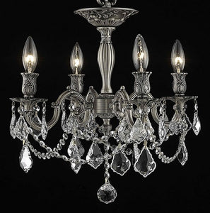 9204 Rosalia Collection Flush Mount D17in H19in Lt:4 Pewter Finish (Royal Cut Crystals)