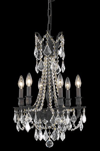 9206 Rosalia Collection Hanging Fixture D16in H22in Lt:6 Dark Bronze Finish (Elegant Cut Crystals)
