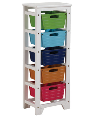 Acme Darvin Storage Rack with 5 Baskets, Green, Blue, Dark Blue, Brown & Red