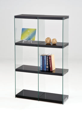 Acme Baxter Bookcase, Black & Clear Glass