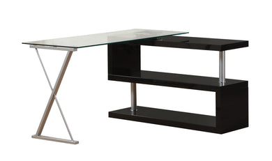 ACME Buck Office Desk in Clear Glass & Black