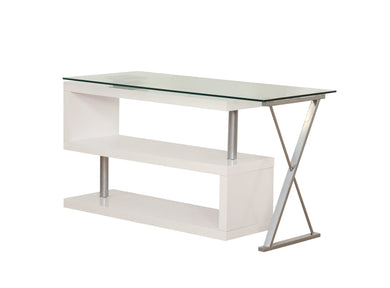 ACME Buck Office Desk in Clear Glass & White