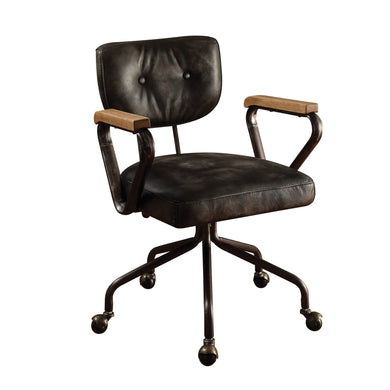 ACME Hallie Top Grain Leather Office Chair in Vintage Black