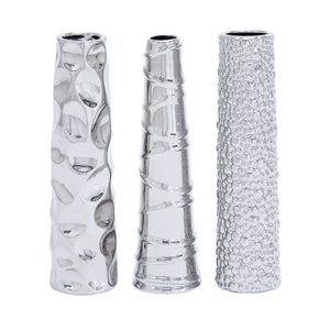 Contemporary Ceramic Vase 3 Assorted In Silver Finish