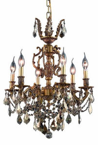 9506 Marseille Collection Hanging Fixture D20in H23in Lt:6 French Gold Finish (Royal Cut Golden Teak Crystal)