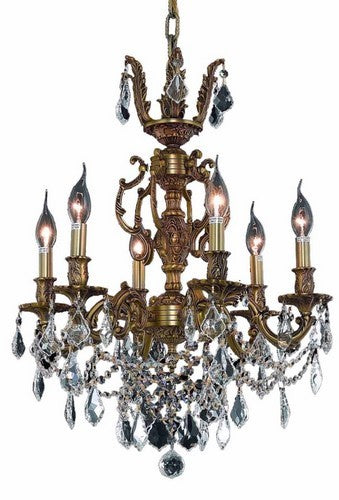 9506 Marseille Collection Hanging Fixture D20in H23in Lt:6 French Gold Finish (Royal Cut Crystal)