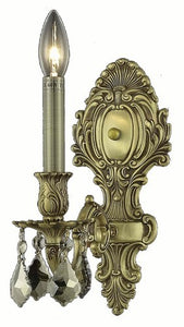 9601 Monarch Collection Wall Sconce W5in H11.5in E8.5in Lt:1 French Gold Finish (Swarovski Strass/Elements Golden Teak Crystals)