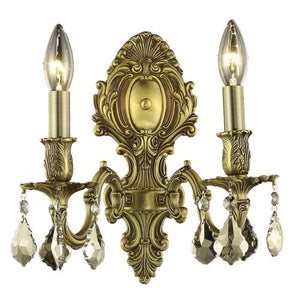 9602 Monarch Collection Wall Sconce W10in H11.5in E7.5in Lt:2 French Gold Finish (Royal Cut Golden Teak Crystals)