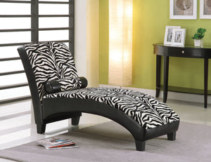 Acme Anna Lounge Chaise with Pillow, Zebra Fabric & Black PU