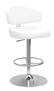 Acme Deka Adjustable Stool with Swivel, White PU & Chrome