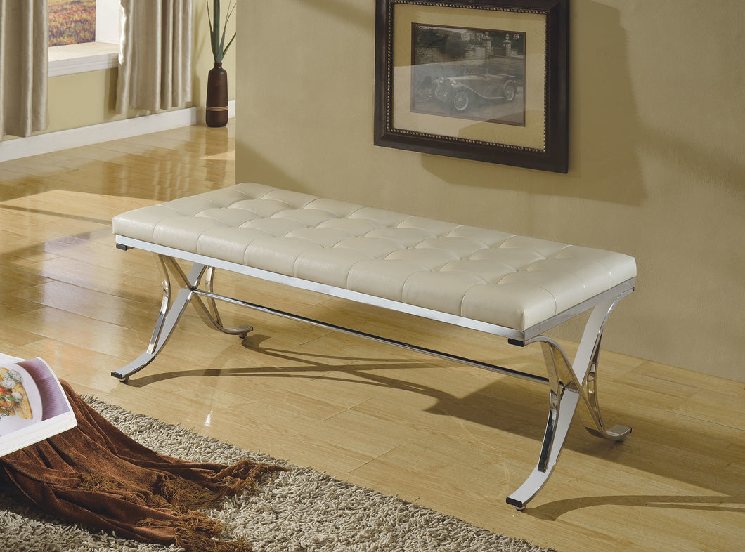 Acme Royce Bench, Beige PU & Chrome