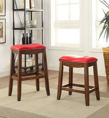 Acme Delta Bar Stool (Set-2), Red PU & Oak