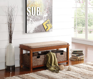 Acme Letha Bench with Storage, Light Brown Microfiber & Walnut