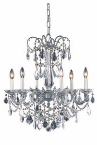 9706 Athena Collection Hanging Fixture D23in H26in Lt:6 Pewter Finish (Swarovski Spectra Crystals)