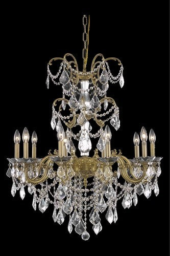 9710 Athena Collection Hanging Fixture D29in H35in Lt:10 French Gold Finish (Swarovski Strass/Elements Crystals)
