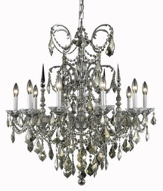 9710 Athena Collection Hanging Fixture D30in H31in Lt:10 Pewter Finish (Swarovski Strass/Elements Crystals)