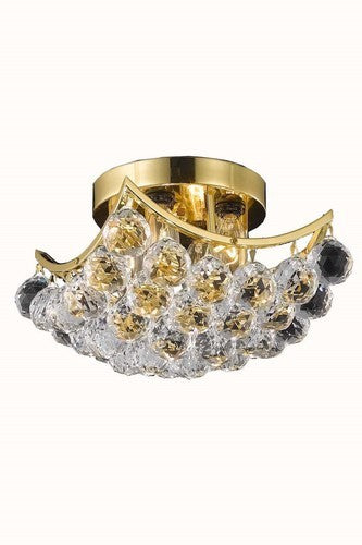 9800 Corona Collection Flush Mount L10in W10in H8in Lt:4 Gold Finish (Royal Cut Crystals)
