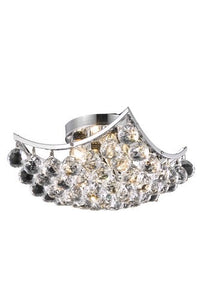 9800 Corona Collection Flush Mount L12in W12in H7in Lt:4 Chrome Finish (Swarovski Elements Crystals)
