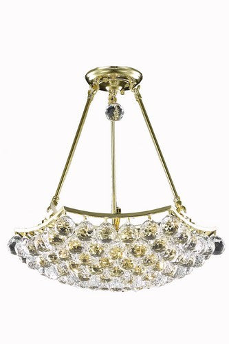 9802 Corona Collection Hanging Fixture D18in H16in Lt:8 Gold Finish (Elegant Cut Crystals)