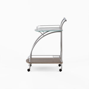 ACME Badin Serving Cart in Clear Glass & Chrome