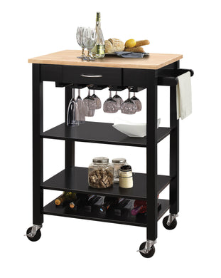 ACME Ottawa Kitchen Cart in Natural and Black