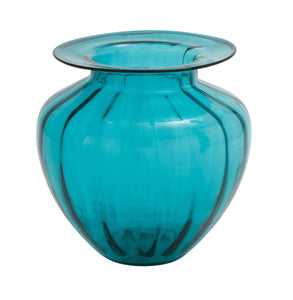 The Unmatched Glass Fluted Vase Blue