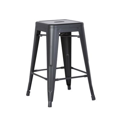 Backless Metal Barstool, Matte Black, 24 -inch, Set of 2
