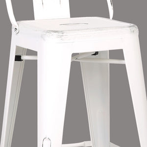 Distressed Metal Barstool with Back, White 30-inch, Set of 2