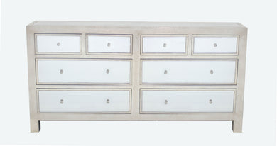 Modern Mirrored Console Table with 8 Drawers