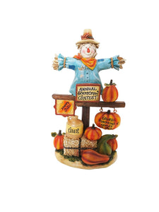 10 Inch Scarecrow With Pumpkins Statuary