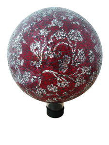 10 Inch Mosaic Glass Gazing Globe With Flower Pattern - Red