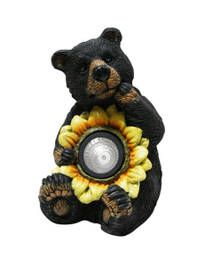 10 Inch Solar Bear With Sunflower Statue