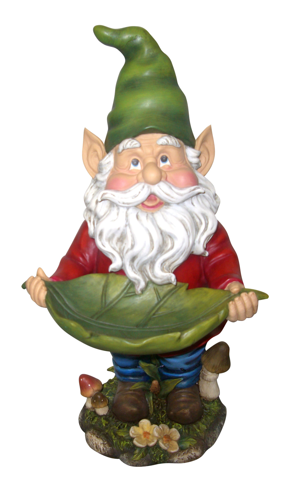 17 Inch Gnome Holding Leaf Statuary