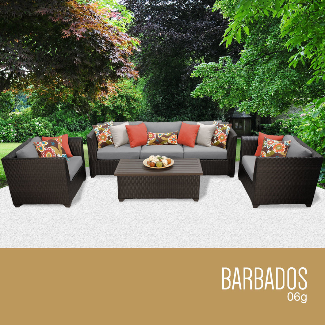 Barbados 6 Piece Outdoor Wicker Patio Furniture Set 06g