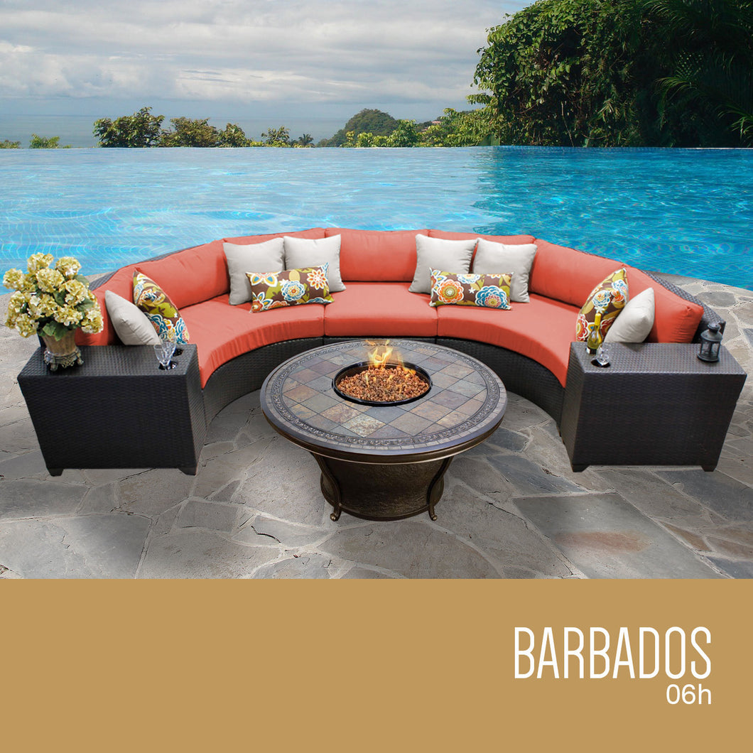 Barbados 6 Piece Outdoor Wicker Patio Furniture Set 06h