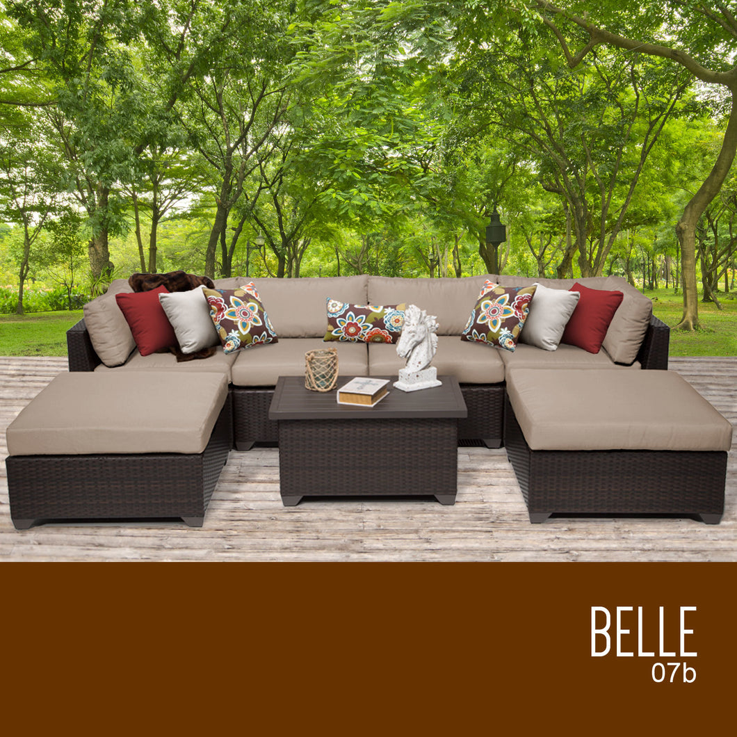 Belle 7 Piece Outdoor Wicker Patio Furniture Set 07b