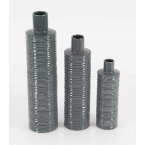 Glossy Gray Ceramic Vase, Assorted 3