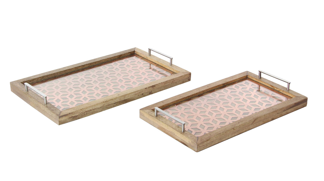 Wooden Metal Glass Tray With Designer Base, Set Of 2