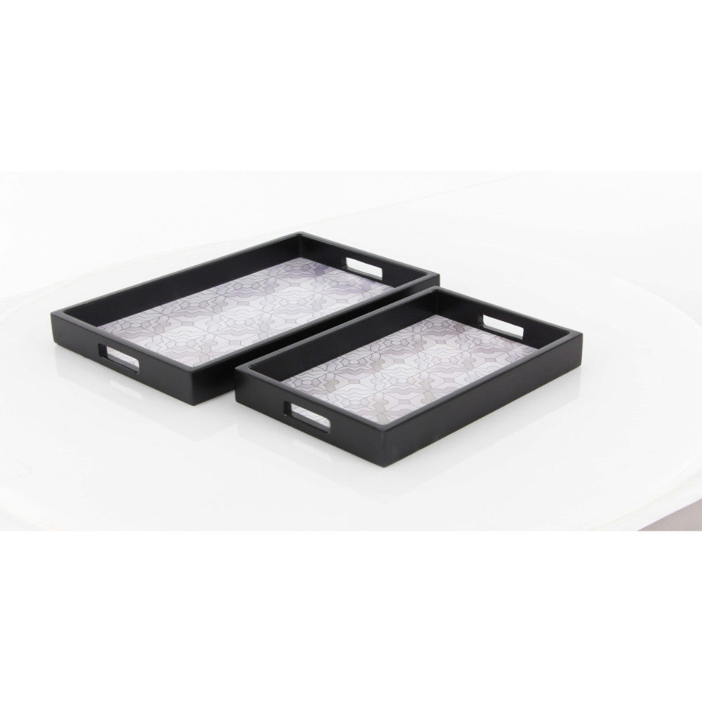 Dark Gray Finish Wood Tray Set Of 2