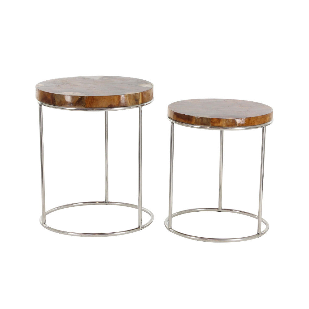 Set Of 2 Teak Round Shape Side Table, Stainless Steel