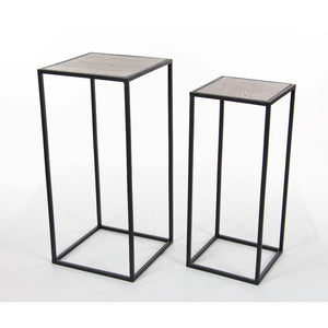 2 Piece Metal Wood Square Pedestal Set