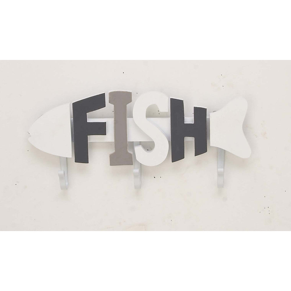 Adorable Wooden Metal Fish Wall Hook